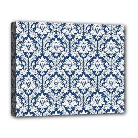 White On Blue Damask Deluxe Canvas 20  x 16  (Framed)