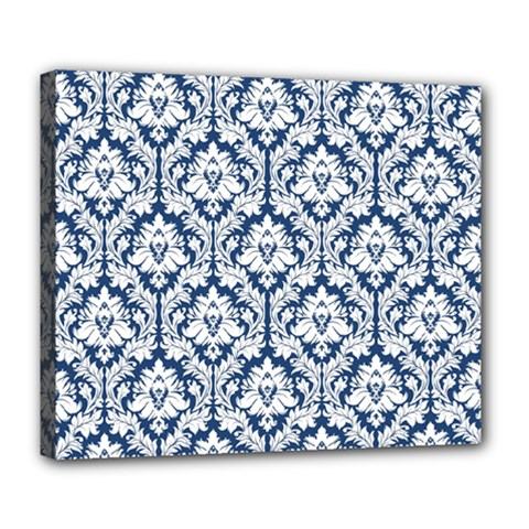 White On Blue Damask Deluxe Canvas 24  X 20  (framed)