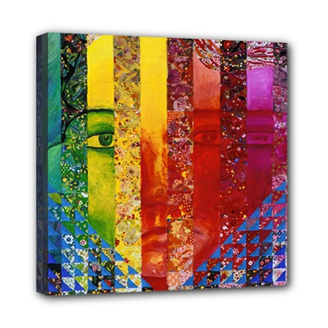 Conundrum I, Abstract Rainbow Woman Goddess  Mini Canvas 8  x 8  (Framed)