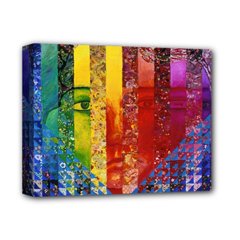 Conundrum I, Abstract Rainbow Woman Goddess  Deluxe Canvas 14  X 11  (framed)
