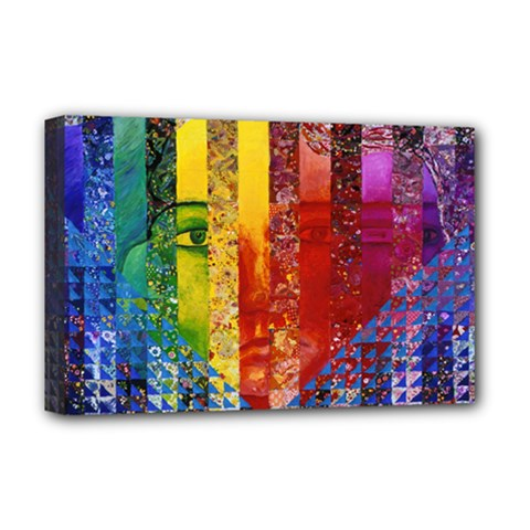 Conundrum I, Abstract Rainbow Woman Goddess  Deluxe Canvas 18  x 12  (Framed)