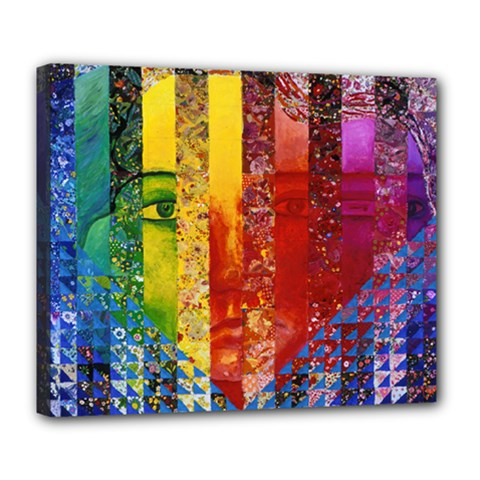 Conundrum I, Abstract Rainbow Woman Goddess  Deluxe Canvas 24  x 20  (Framed)