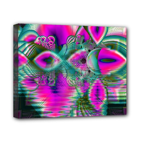 Crystal Flower Garden, Abstract Teal Violet Canvas 10  x 8  (Framed)