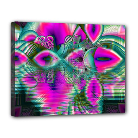 Crystal Flower Garden, Abstract Teal Violet Canvas 14  x 11  (Framed)
