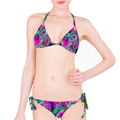 Crystal Flower Garden, Abstract Teal Violet Bikini