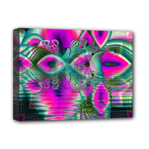 Crystal Flower Garden, Abstract Teal Violet Deluxe Canvas 16  x 12  (Framed)