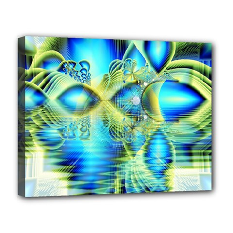 Crystal Lime Turquoise Heart Of Love, Abstract Canvas 14  x 11  (Framed)