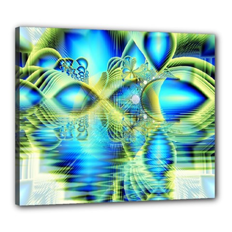 Crystal Lime Turquoise Heart Of Love, Abstract Canvas 24  x 20  (Framed)