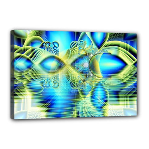 Crystal Lime Turquoise Heart Of Love, Abstract Canvas 18  x 12  (Framed)
