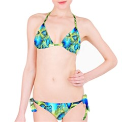 Crystal Lime Turquoise Heart Of Love, Abstract Bikini