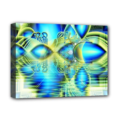 Crystal Lime Turquoise Heart Of Love, Abstract Deluxe Canvas 16  X 12  (framed)