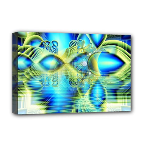 Crystal Lime Turquoise Heart Of Love, Abstract Deluxe Canvas 18  x 12  (Framed)