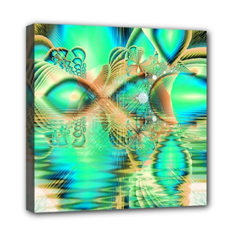 Golden Teal Peacock, Abstract Copper Crystal Mini Canvas 8  x 8  (Framed)