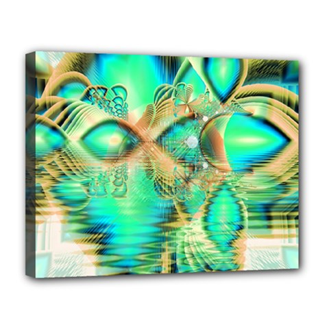 Golden Teal Peacock, Abstract Copper Crystal Canvas 14  x 11  (Framed)