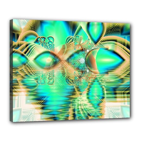 Golden Teal Peacock, Abstract Copper Crystal Canvas 20  x 16  (Framed)