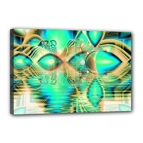 Golden Teal Peacock, Abstract Copper Crystal Canvas 18  X 12  (framed)