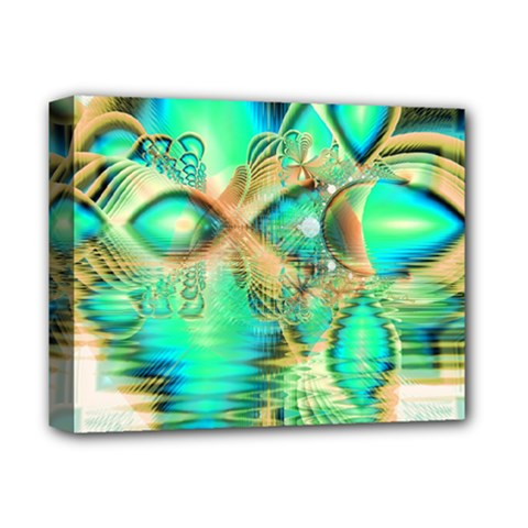 Golden Teal Peacock, Abstract Copper Crystal Deluxe Canvas 14  X 11  (framed)