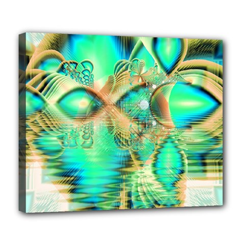 Golden Teal Peacock, Abstract Copper Crystal Deluxe Canvas 24  x 20  (Framed)