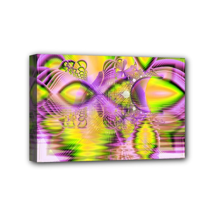 Golden Violet Crystal Heart Of Fire, Abstract Mini Canvas 6  x 4  (Framed)
