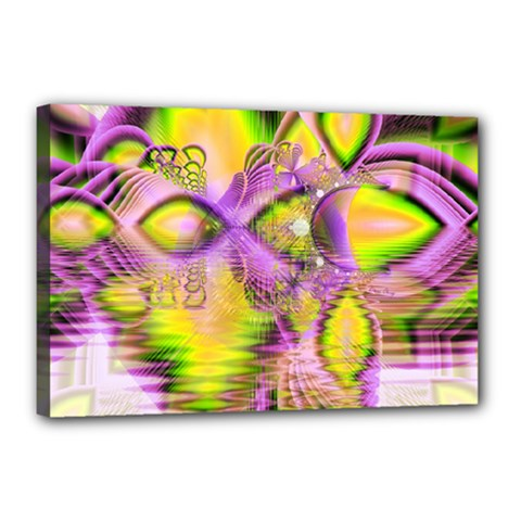 Golden Violet Crystal Heart Of Fire, Abstract Canvas 18  x 12  (Framed)