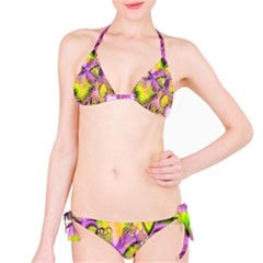 Golden Violet Crystal Heart Of Fire, Abstract Bikini