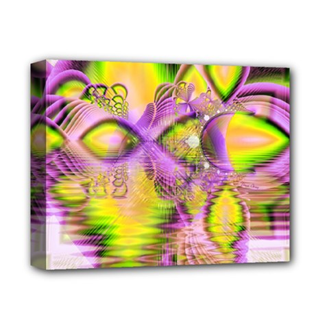 Golden Violet Crystal Heart Of Fire, Abstract Deluxe Canvas 14  x 11  (Framed)