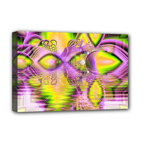 Golden Violet Crystal Heart Of Fire, Abstract Deluxe Canvas 18  x 12  (Framed)