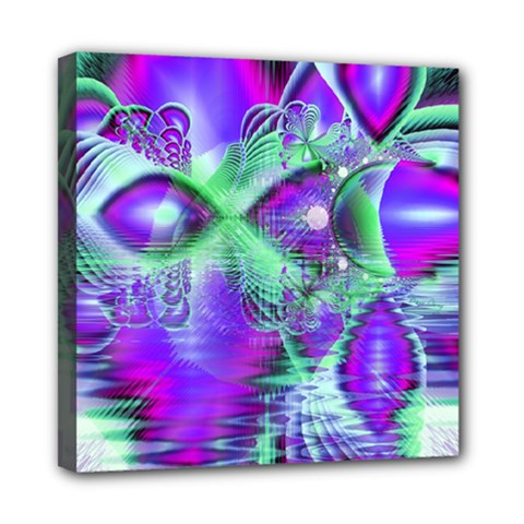 Violet Peacock Feathers, Abstract Crystal Mint Green Mini Canvas 8  x 8  (Framed)