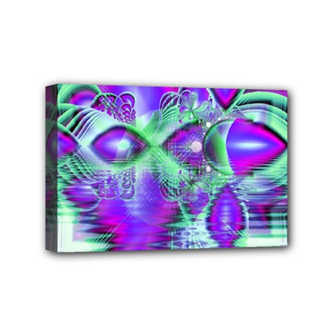 Violet Peacock Feathers, Abstract Crystal Mint Green Mini Canvas 6  x 4  (Framed)