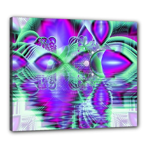 Violet Peacock Feathers, Abstract Crystal Mint Green Canvas 24  x 20  (Framed)
