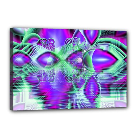 Violet Peacock Feathers, Abstract Crystal Mint Green Canvas 18  x 12  (Framed)