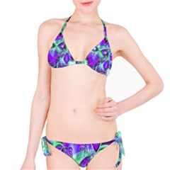 Violet Peacock Feathers, Abstract Crystal Mint Green Bikini