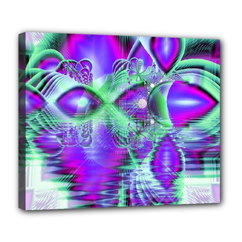 Violet Peacock Feathers, Abstract Crystal Mint Green Deluxe Canvas 24  X 20  (framed)