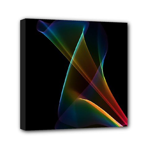 Abstract Rainbow Lily, Colorful Mystical Flower  Mini Canvas 6  x 6  (Framed)