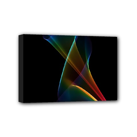Abstract Rainbow Lily, Colorful Mystical Flower  Mini Canvas 6  x 4  (Framed)
