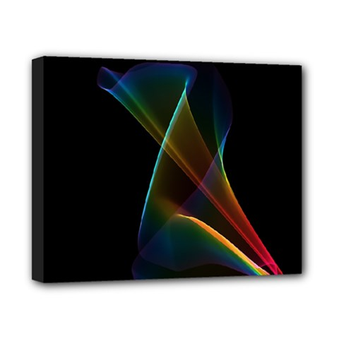Abstract Rainbow Lily, Colorful Mystical Flower  Canvas 10  x 8  (Framed)