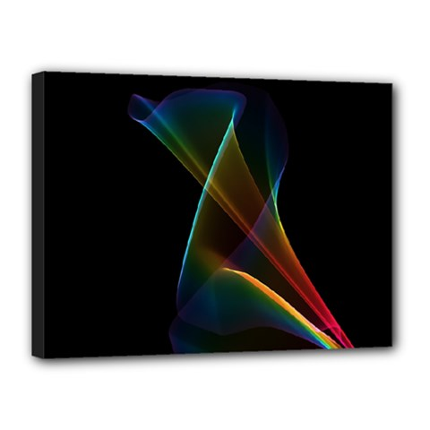 Abstract Rainbow Lily, Colorful Mystical Flower  Canvas 16  x 12  (Framed)