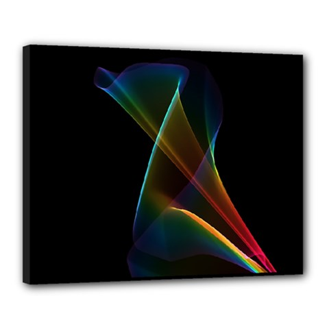 Abstract Rainbow Lily, Colorful Mystical Flower  Canvas 20  X 16  (framed)