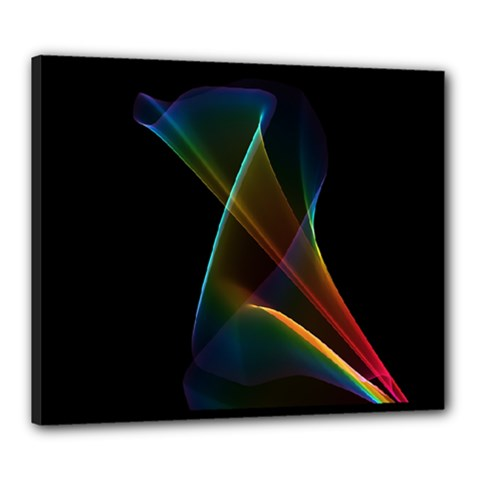 Abstract Rainbow Lily, Colorful Mystical Flower  Canvas 24  x 20  (Framed)