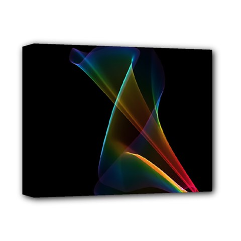 Abstract Rainbow Lily, Colorful Mystical Flower  Deluxe Canvas 14  x 11  (Framed)
