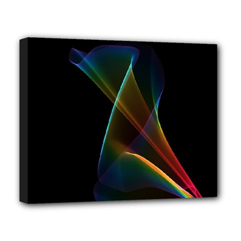 Abstract Rainbow Lily, Colorful Mystical Flower  Deluxe Canvas 20  X 16  (framed)