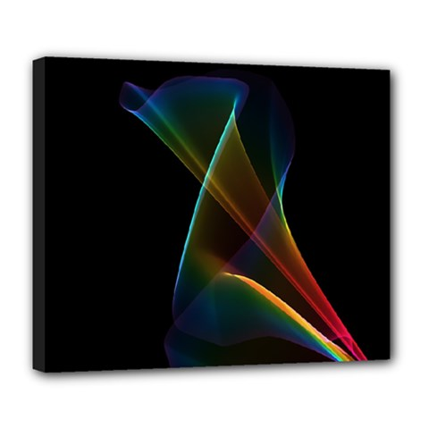Abstract Rainbow Lily, Colorful Mystical Flower  Deluxe Canvas 24  X 20  (framed)
