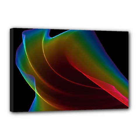 Liquid Rainbow, Abstract Wave Of Cosmic Energy  Canvas 18  X 12  (framed)