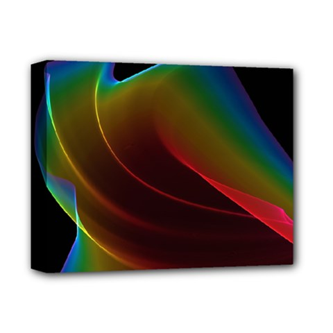 Liquid Rainbow, Abstract Wave Of Cosmic Energy  Deluxe Canvas 14  x 11  (Framed)