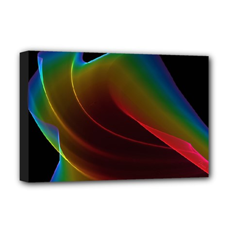Liquid Rainbow, Abstract Wave Of Cosmic Energy  Deluxe Canvas 18  x 12  (Framed)