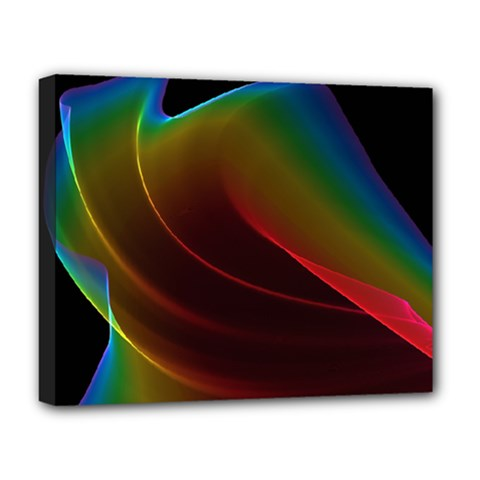 Liquid Rainbow, Abstract Wave Of Cosmic Energy  Deluxe Canvas 20  X 16  (framed)