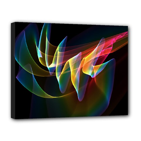 Northern Lights, Abstract Rainbow Aurora Canvas 14  x 11  (Framed)