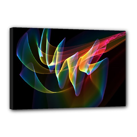 Northern Lights, Abstract Rainbow Aurora Canvas 18  x 12  (Framed)
