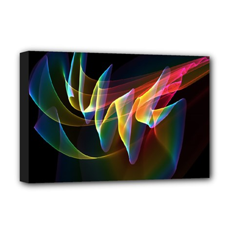 Northern Lights, Abstract Rainbow Aurora Deluxe Canvas 18  X 12  (framed)