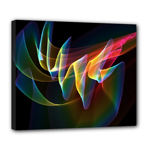Northern Lights, Abstract Rainbow Aurora Deluxe Canvas 24  x 20  (Framed)